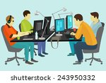 people working at the desk... | Shutterstock .eps vector #243950332