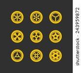 wheel icons   wheels yellow... | Shutterstock .eps vector #243959872