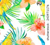 macaw seamless pattern.... | Shutterstock .eps vector #243971176