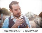 handsome big moustache hipster... | Shutterstock . vector #243989632
