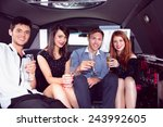 happy friends drinking... | Shutterstock . vector #243992605