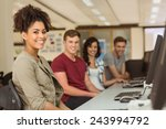 classmates working in the... | Shutterstock . vector #243994792