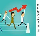 cartoon businesspeople running... | Shutterstock .eps vector #243996922