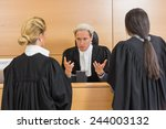lawyers speaking with the judge ... | Shutterstock . vector #244003132