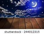 night sky with stars and moon ... | Shutterstock . vector #244012315