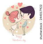 Stock vector valentine s day lovely girl and boy taking a photo 244017922