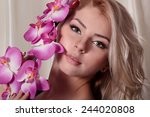 closeup portrait of attractive... | Shutterstock . vector #244020808