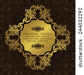 invitation with gold frame on... | Shutterstock .eps vector #244032292