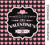 happy valentine's day   flat... | Shutterstock . vector #244042612
