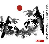 bamboo and mountains ink... | Shutterstock .eps vector #244055446