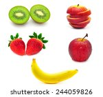 mix fruit isolated on white...   Shutterstock . vector #244059826