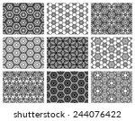 set of nine seamless geometric... | Shutterstock .eps vector #244076422