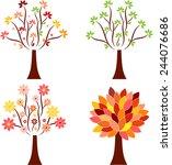 isolated tree vectors  seasonal ... | Shutterstock .eps vector #244076686