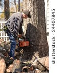 lumberjacks chopping down a tree | Shutterstock . vector #24407845