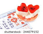 two jelly heart shaped cakes... | Shutterstock . vector #244079152