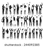 silhouette group of people... | Shutterstock .eps vector #244092385