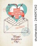vector vintage wall decoration... | Shutterstock .eps vector #244097242