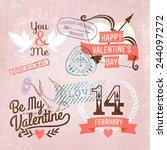 vector retro looking valentine... | Shutterstock .eps vector #244097272