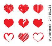 set of vector drawing hearts | Shutterstock .eps vector #244101286