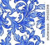 vector blue floral watercolor... | Shutterstock .eps vector #244102348