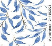 blue leaves vector watercolor... | Shutterstock .eps vector #244103026