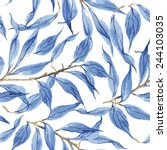 blue leaves vector watercolor... | Shutterstock .eps vector #244103035