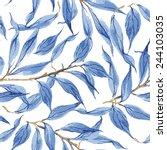 blue leaves vector watercolor... | Shutterstock .eps vector #244103035