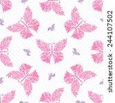seamless butterfly pattern.... | Shutterstock .eps vector #244107502
