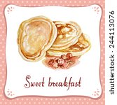 pancake with jam. hand painted... | Shutterstock .eps vector #244113076