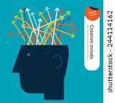 head with colorful arrows... | Shutterstock .eps vector #244114162