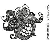 fantasy pattern in tattoo style ... | Shutterstock .eps vector #244130992