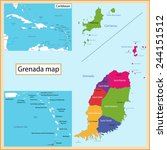 map of grenada drawn with high... | Shutterstock . vector #244151512