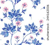 seamless floral pattern with... | Shutterstock . vector #244162036