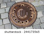 iron hatch  manhole  for sewer... | Shutterstock . vector #244173565