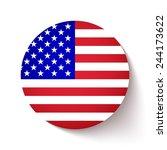 american flag circle button... | Shutterstock .eps vector #244173622
