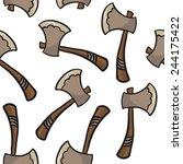 axe seamless pattern on white | Shutterstock .eps vector #244175422
