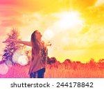 free happy woman enjoying... | Shutterstock . vector #244178842