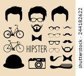 big vector set of dress up... | Shutterstock .eps vector #244182622