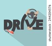 drive with steering wheel in...   Shutterstock .eps vector #244204576