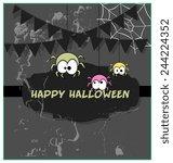 funny halloween spiders grunge... | Shutterstock .eps vector #244224352