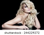 fashion model with long blond... | Shutterstock . vector #244229272