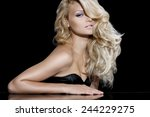 fashion model with long blond... | Shutterstock . vector #244229275