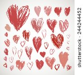 crayon and pastel grunge hearts ... | Shutterstock .eps vector #244244452