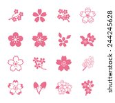 cherry blossom icon set | Shutterstock .eps vector #244245628