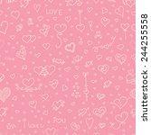 love vector seamless pattern.... | Shutterstock .eps vector #244255558