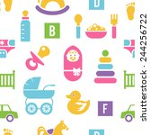 newborn and toys background.... | Shutterstock . vector #244256722