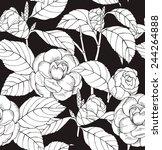seamless pattern camelia black  ... | Shutterstock .eps vector #244264888