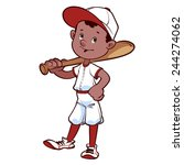 baseball player with a bat on... | Shutterstock .eps vector #244274062