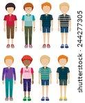 eight faceless young men on a... | Shutterstock .eps vector #244277305