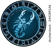 dark blue round scorpio zodiac... | Shutterstock .eps vector #244289146